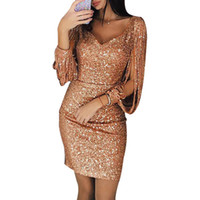 Hot Femmes Robes Paillettes New Summer Fashion V-cou solide Brochage Robe Sexy Club Sac à manches longues Slim Hip Mini Robe Taille Plus S-3XL