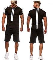 Trajes para hombre del diseñador Deporte chándales de manga corta a rayas color puro Adolescente 2pcs sistemas gimnasia verano Homme