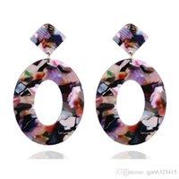 Kendra Style Designer ispirato Abalone Shell Leopard Turquoise Gemani in pietra naturale Aragona Oval Dangle Danning Orecchini per le donne