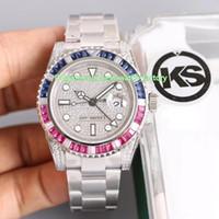 5 cor melhor qualidade ks maker 40mm gmt batman 126719 diamond gem bebe 904 aço suíço ETA 2836 movimento relógio automático dos homens dos homens