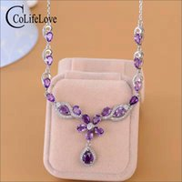 Elegant amethyst necklace for evening party natural amethyst...