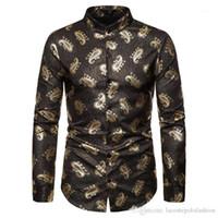 Designer Hemd Luxuxgold Mens beiläufige Kleidung Mode Stile Homme toppe Paisley-Druck-Männer