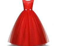2020 Stok Beyaz Mor Kırmızı Mavi Prenses Dantel Çiçek Kız Elbise Bow Kemer Çocuk Balo doğum günü partisi Elbiseler Çocuk Mesh Elbise In