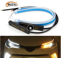 Okeen 2x voitures ultrafines drl LED lumière de jour exécutant des lumières de virage blanc virage jaune bande de guidage jaune pour l'assemblage de phare Drop expédition