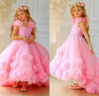Pink 3D Flowers High Low Flower Girl Dresses For Wedding Tod...