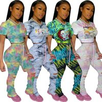 Sets Tie Dyed Short Sleeve Lace Up Two Piece Pants Slim Ripped Tracksuits Stacked Pants Matching