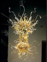 Teto New Art Murano Vidro Vintage Decor fonte de luz LED 100% Lustres Chihuly vidro soprado de mão