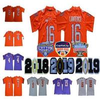 2019 Championships Clemson Tigers 16 Trevor Lawrence 9 Travis Etienne Jr. 4  Deshaun Watson 13 Hunter Renfrow Orange NCAA Cotton Bowl Jerseys 4251c1c35