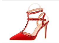 유럽 미국 재단사 여성 하이힐 파티 패션 리벳 여자는 뾰족한 신발은 신발 결혼식 신발을 두 번 스트랩 샌들 댄스 섹시