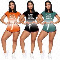 BLACK LEBT MATTER Brief Designer Shorts Set für Damen T-Shirt Crop Top + Shorts 2 Stück Outfits beiläufigen Sommer-Gradient Anzug D62309