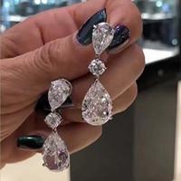 الكلاسيكية القرط قطرة مجوهرات فاخرة 925 فضة الأبيض توباز شعبي CZ الماس المرأة حفل زفاف العرسان تعلق القرط هدية