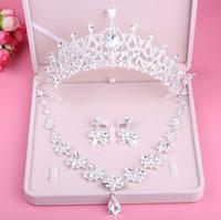 الأميرة الساحرة الزهور الفضية بلورات مجوهرات الزفاف 3 قطع مجموعات قلادة أقراط تيارا الزفاف اكسسوارات الزفاف التيجان T303569