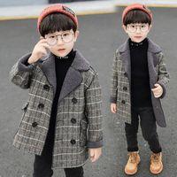 Длинные шерстяные пальто для мальчиков плед куртки толстые мальчики шерсть зимнее пальто дети Snowsuit мальчик смешивает пальто детей куртка ребёнок одежда