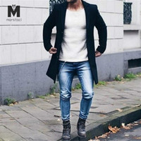 2019 New Spring Autumn trench coat men Button Long Sleeve Fi...