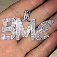 Nome personalizzato Baguette Lettere Hip Hop Pendant con catena di corda GRATUITA oro argento Bling Zirconia gioielli da uomo