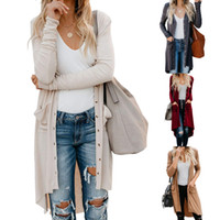 2019 Autumn Long Cardigan Frauen Langarm-Solid Color Button-Down-Knit Rippstrickbündchen Oberbekleidung Pullover Damen Kleidung
