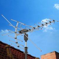 Venda quente Antena HDTV ao ar livre Rotação de 360 ° 45-230MHz 470-860MHz 15-22DB Antena de amplificação de sinal ao ar livre Black US em estoque