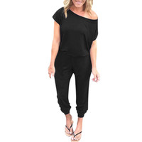 Summer Women Jumpsuit Pocket Off Shoulder Short Sleeve Rompe...