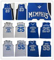 NCAA Memphis Eyalet Kaplanları Penny Hardaway Formaları Dikişli 55 Lorenzen Wright Derrick Rose Koleji Basketbol Formaları Mavi Beyaz