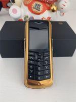 Desbloqueado K8 + Bar luxo metal Assinatura Celular Dual Sim Sem Camer Couro Voltar Bluetooth Constellation Ouro retro Mobile Phone
