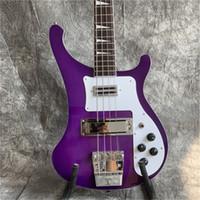 Spedizione gratuitaExport di fabbrica Qualità Viola 4 corde Rikenbaker Electric Bass Guitarra Tutte le chitarre di colore Guitarra