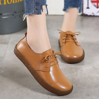 Women' s Low- Top Flat Shoes Solid Color Lace- Up Casual S...