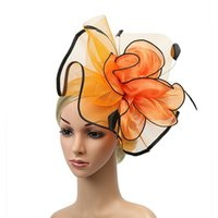 Frauen Sinamay Fascinator Mode Kopfbedeckungen Damen Elegante Band-Cocktail-Party-Hut-Hochzeit Kirche Kentucky Derby Königshauptbänder