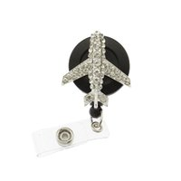 10pcs / lot Bling avion en forme de porte-badge rétractable strass clair strass cristal forme d'avion avion médical rétractable carte Pull
