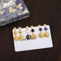 Novíssimo Sun Moon Star Series temperamento brincos jóias de alta qualidade chapeamento 0,3 ouro de espessura