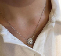 Luxury Women Pendant Necklace Round Diamond Necklace pendant...