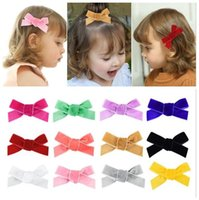Fashion Baby Bow Hairpin Clips Girls Velvet Bowknot Barrette...