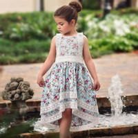 Vieeoease Girls Dress Floral Kids Clothing 2019 Summer Fashion sin mangas de encaje Irregularity Princess Party Dress CC-453