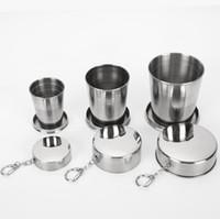 غير القابل للصدأ الفولاذ قابلة للطي كأس 70ML 150ML 250ML التخييم الطي الكؤوس المحمولة السفر في الهواء الطلق للطي كأس مع سلسلة المفاتيح 30PCS OOA7596