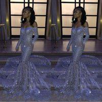 Fille Black Fille Soutune Silver Serre Off-the-Sermaid Pal Robes 2020 manches longues balayer Robes de soirée réfléchissantes BC3306