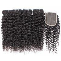 Jerry Curl Virgin Hair 4 pacotes com 4 * 4 laço fechamento natural cor remy brasileiro peruano indiano cambojano curly cabelo humano extensão