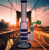 QBsomk 3 capas Honeycomb Stright Oil Rig Heavy Base Gravity Glass Bong Recycler Filter Dab Rig Perc Glass Pipe Water Peak Beaker Fumar Pip
