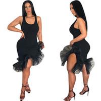 Женщины сексуальный жилет оборками мини-юбка до середины икры длина нерегулярные органза рыбий хвост подол без рукавов ремень платья латинские танцы платья партии C425