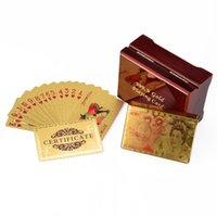 Goldfolie Dollar Schürhakenkarte Euro Spielkarten Wasserdicht Pound Pokers mit rotem Kasten Für Geschenk-Ansammlung Freien Verschiffen