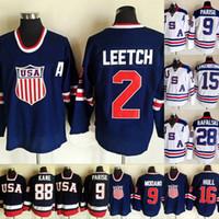 2010 Takım ABD Vintage Hokey Olimpiyat 88 Patrick Kane 15 Jamie Langenbrunner 16 Brett Hull 2 Brian Leetch 39 Ryan Miller Hokey Formaları