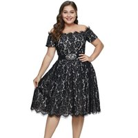 2019 Plus Size Party Dress Short Sleeve Knee- Length Party Dr...