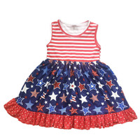 Nouveau Design Girls Dress Enfants sans manches 4 juillet rayé étoiles et Dot imprimé coton Dress Girls Independence Dress