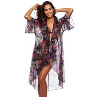 أزياء الصيف بوهو كارديجان المرأة مثير الأزهار المطبوعة بلوزة من الشيفون قميص طويل LooseBikini التستر تونك بلايز شاطئ ماكسي البلوزات