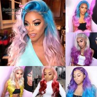 Preferred Brazilian Human Hair Wig Ombre Pink Remy Lace Fron...
