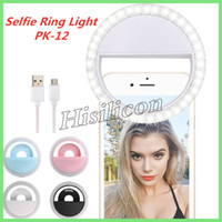 범용 PK 12 Selfie LED 링 라이트 플래시 램프 카메라 사진 USB 충전 아이폰 삼성 화웨이 Xiaomi + 소매 상자