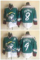 Mens Vintage CCM Anaheim Mighty Patos Selvagem Asa Jersey 9 Paul Kariya 8 Teemu Selanne Retro Costurado Verde Hockey Jerseys M-3XL