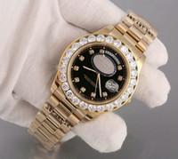 Luxury Super Хороший Президент День Дата Дата Часы Big Diamond Bezel Черный циферблат Mens Reloj Часы Наручные часы Наручные часы