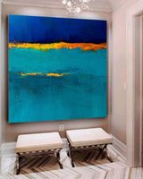 Blue Painting Seascape Painting Large Original Abstract Land...