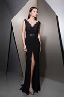 Зиад накад черные вечерние платья изысканный V шеи передние разрезы длинные платья выпускного вечера элегантный вечернее платье 2018 арабские дамы осень Русалка вечер