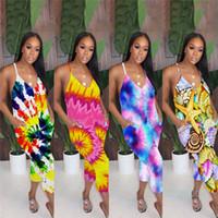 여성용 넥타이 염료 색상 하렘 바지 스트랩 Jumpsuit 여름 민소매 romper 낮은 V 넥 섹시한 원피스 클럽 해변 의류 운동복 S-XL D5608