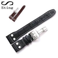 Alta Qualidade Genuine couro de bezerro macio Watch Band Strap Para Iwc Mark 17 Series Watch Band 20 22 milímetros Correia Pulseira Com Rivet T190705